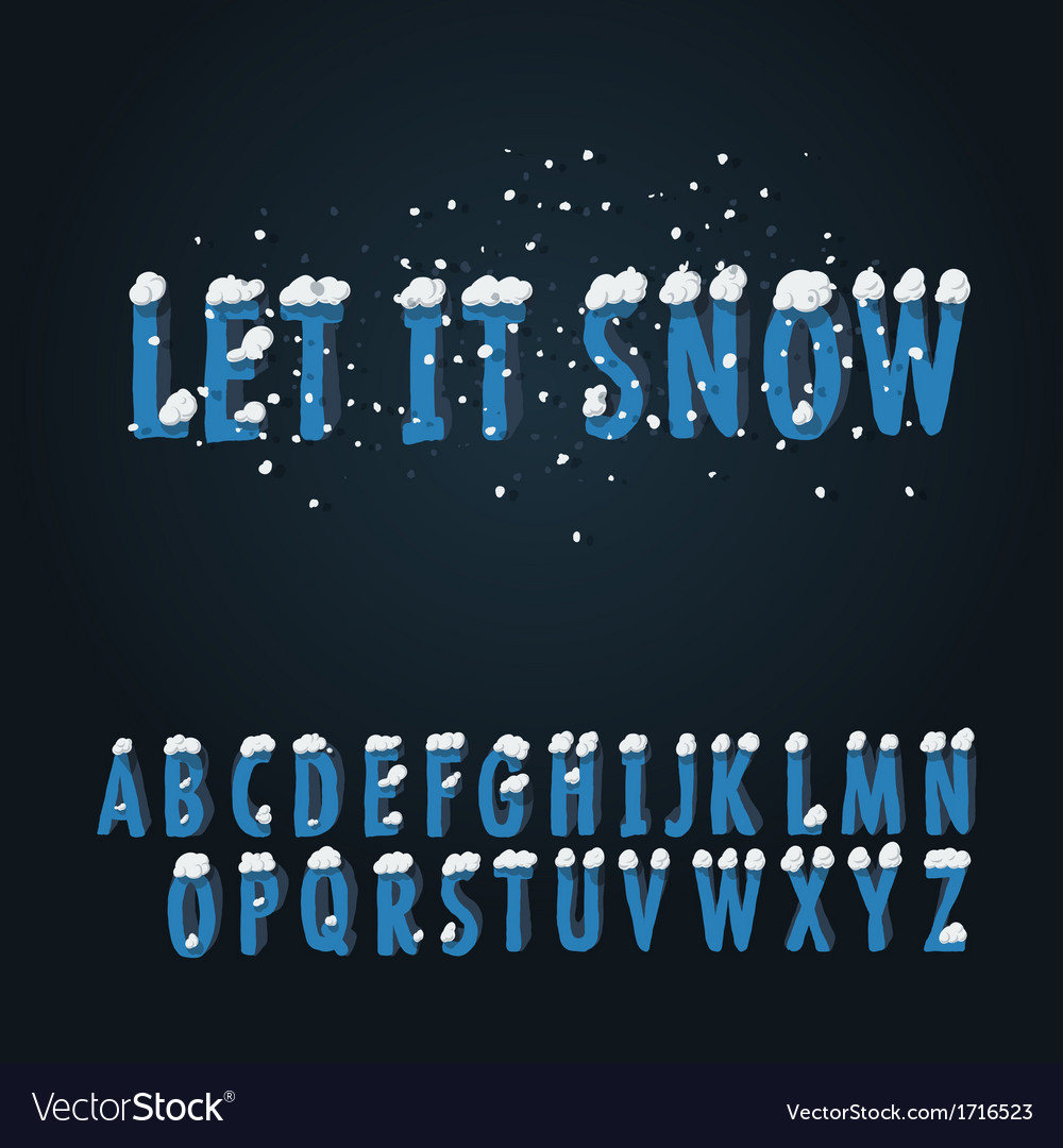 Retro type font with snow vector | Price: 1 Credit (USD $1)
