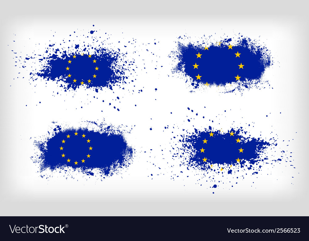 Set of four grunge ink spattered european union vector | Price: 1 Credit (USD $1)