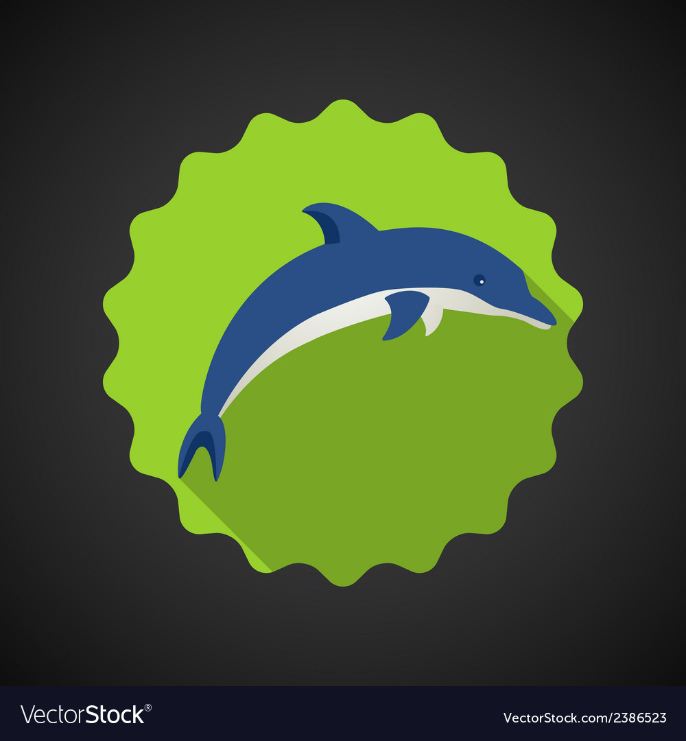 Summer travel sea dolphin flat icon vector | Price: 1 Credit (USD $1)