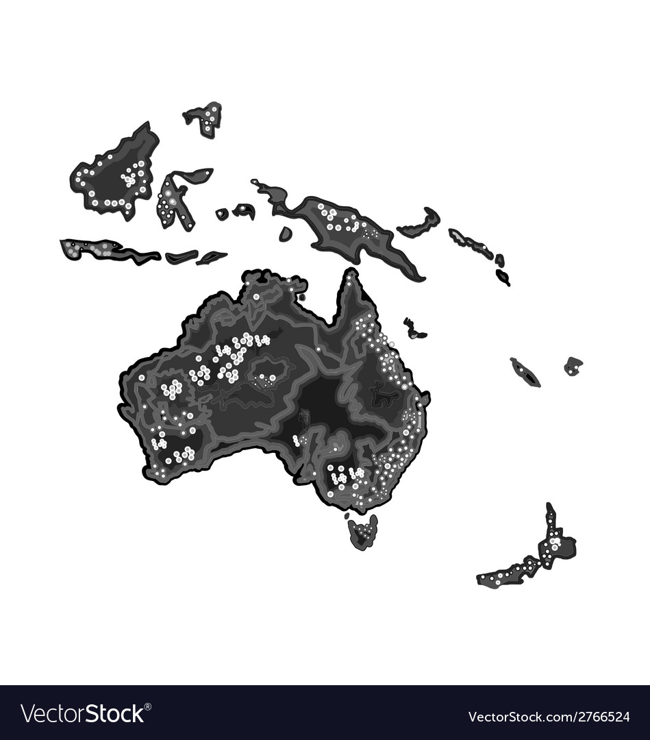 Australia map at night as engraving vintage vector | Price: 1 Credit (USD $1)