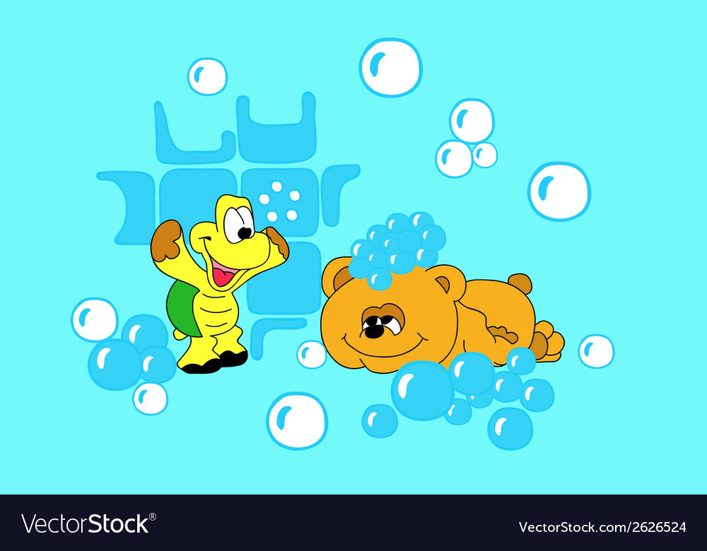 Bear and the tortoise-soap bubbles vector | Price: 1 Credit (USD $1)
