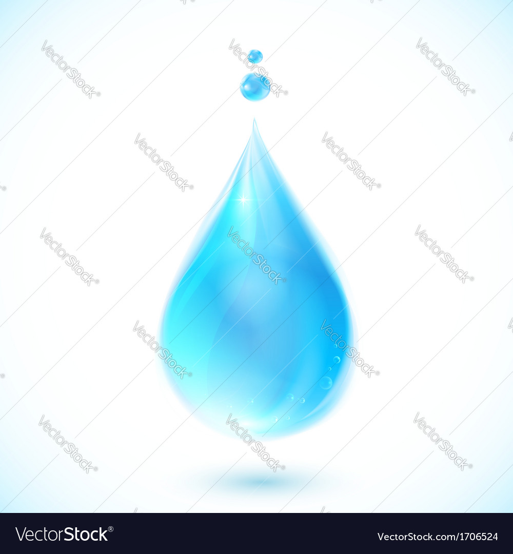 Blue water drop on white background vector | Price: 1 Credit (USD $1)