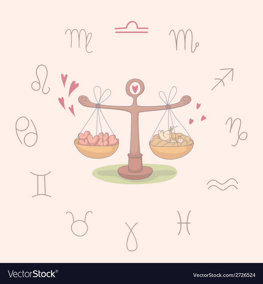 Cartoon of the scales libra vector | Price: 1 Credit (USD $1)
