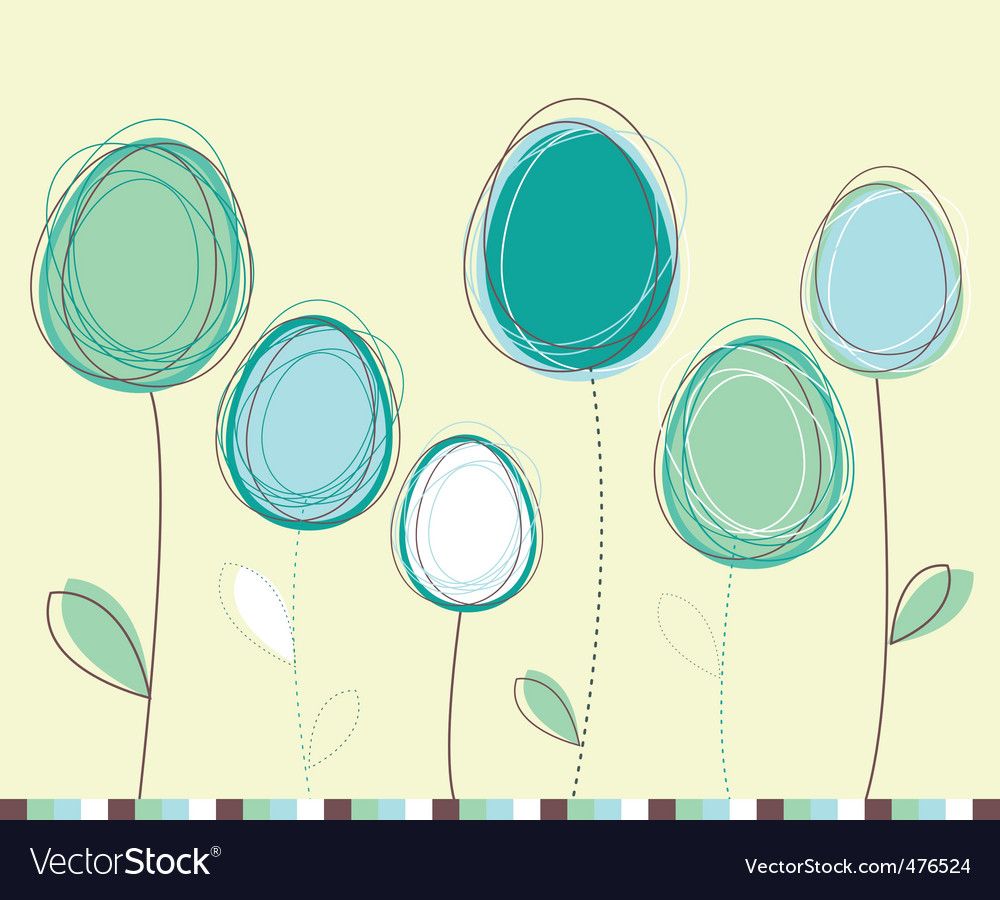 Easter eggs flowers card vector | Price: 1 Credit (USD $1)