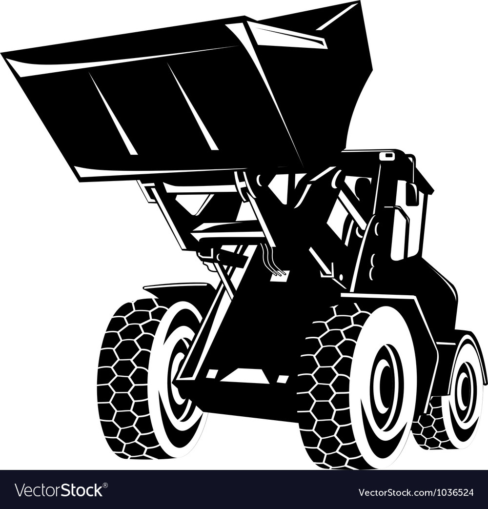 Front end loader digger excavator retro vector | Price: 1 Credit (USD $1)