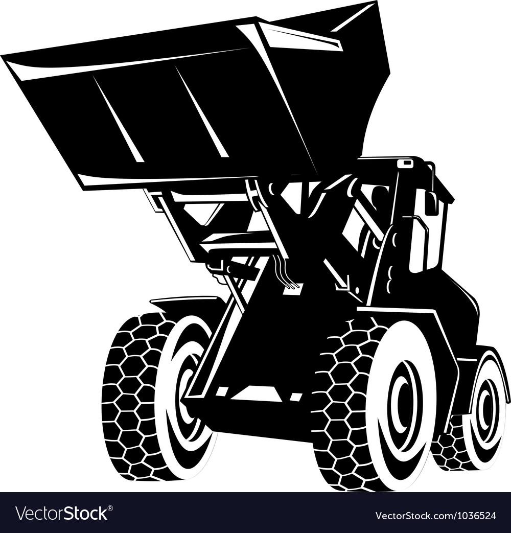 Front end loader digger excavator retro vector | Price: 1 Credit (USD $1)