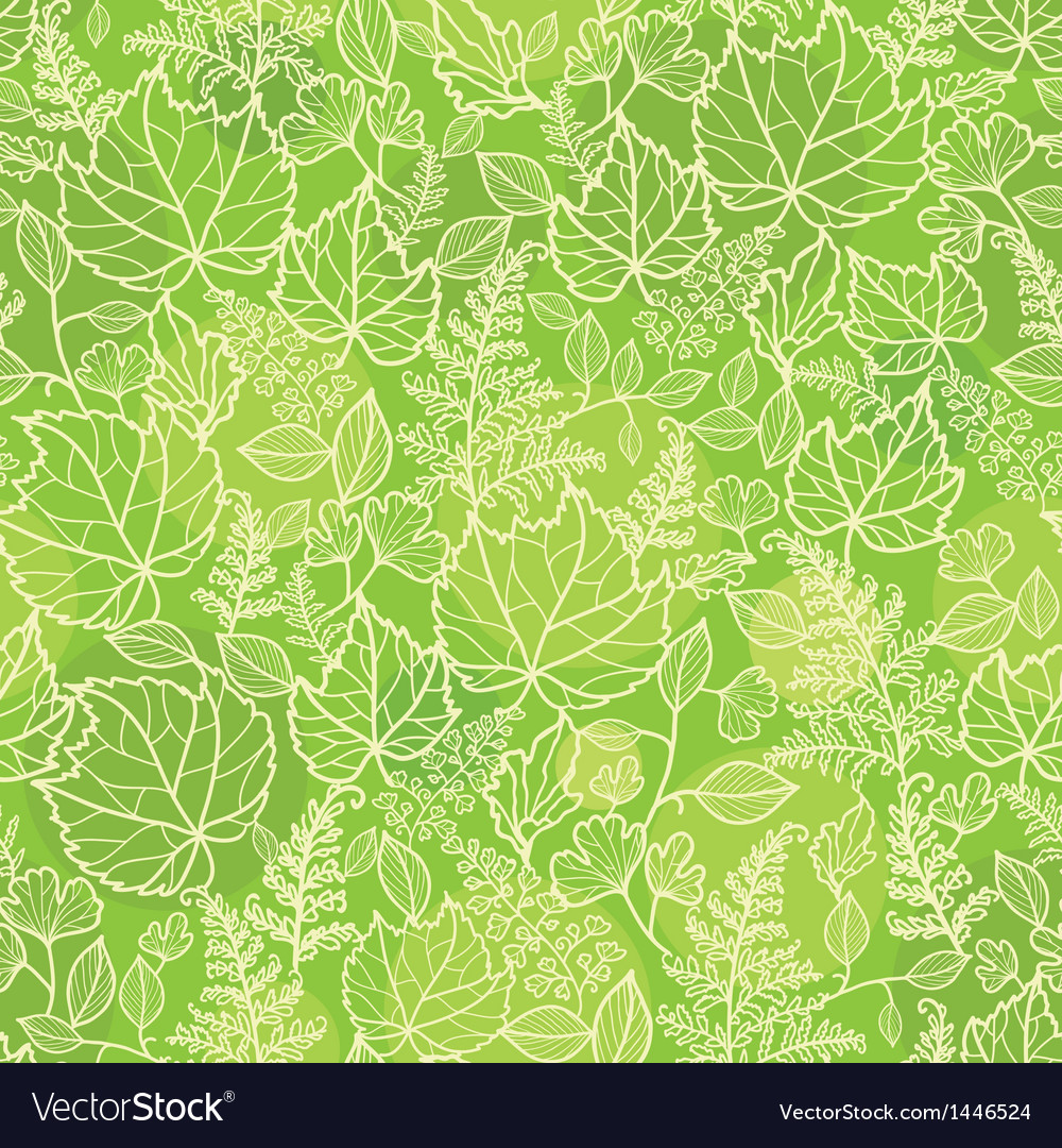 Green leaves lineart texture seamless pattern vector | Price: 1 Credit (USD $1)