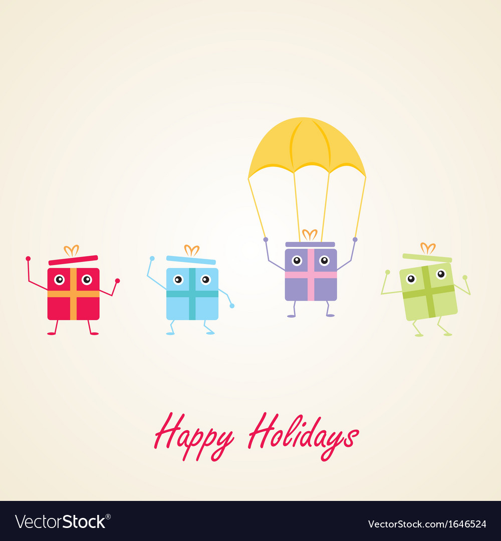 Happy gifts presents waving and being excited vector | Price: 1 Credit (USD $1)