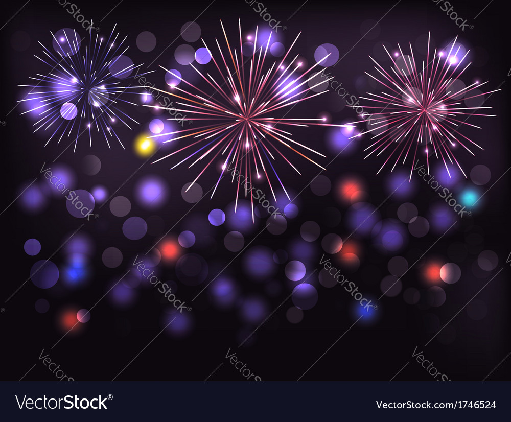 Holiday background with colorful fireworks happy vector | Price: 1 Credit (USD $1)