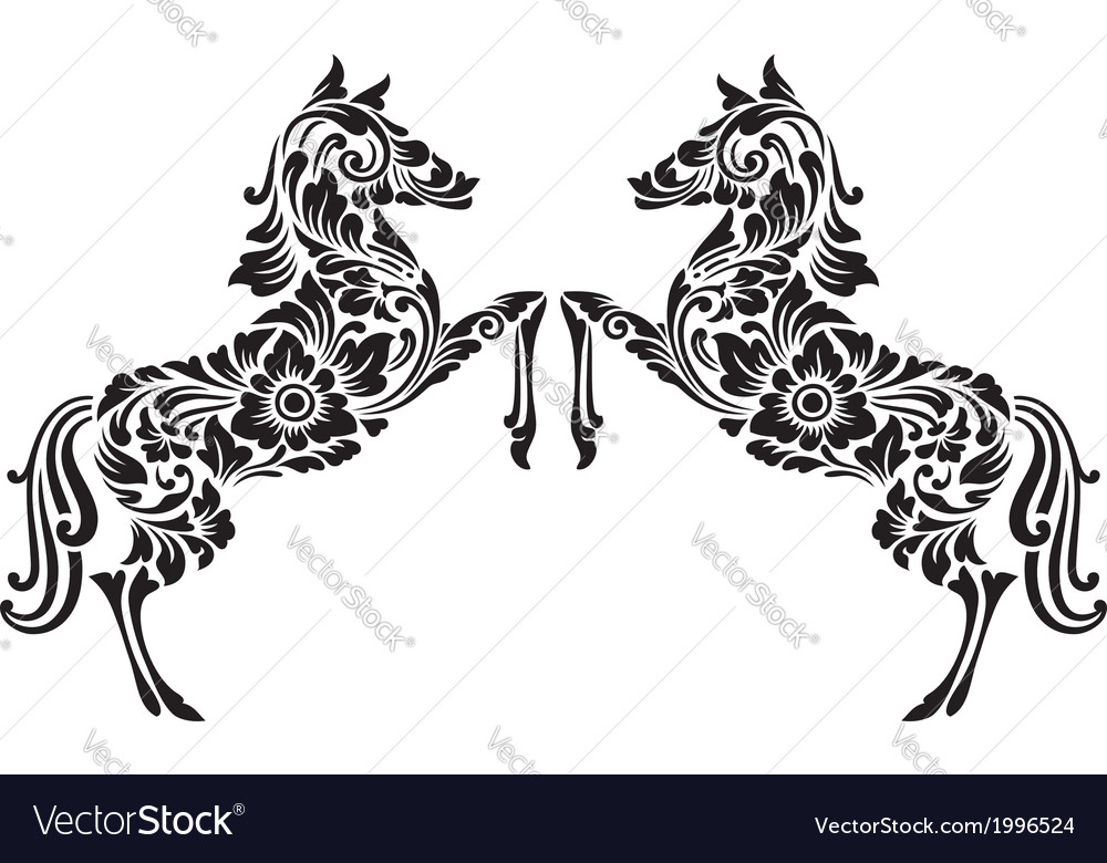 Horse floral pattern decoration vector | Price: 1 Credit (USD $1)