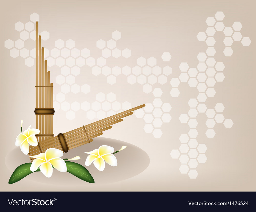 Pan flute plumeria flower background vector | Price: 1 Credit (USD $1)
