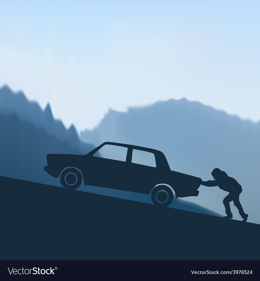 Pushing a car vector   Price: 1 Credit (USD $1)