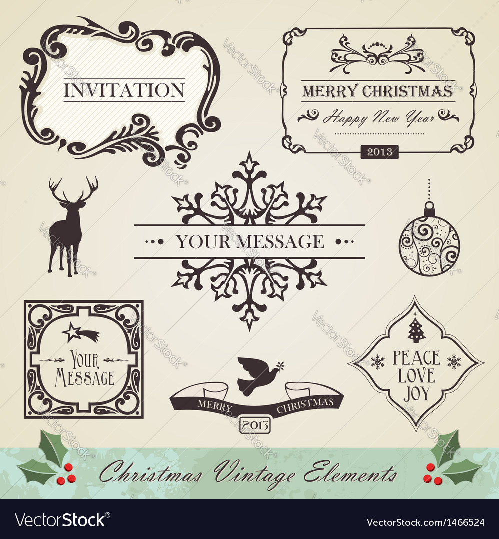 Vintage christmas elements set vector | Price: 1 Credit (USD $1)