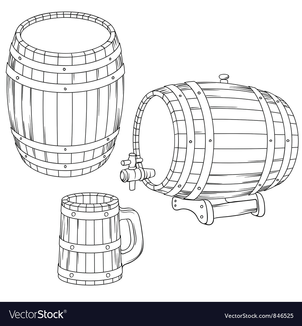 A barrel mug isolated on white vector | Price: 1 Credit (USD $1)