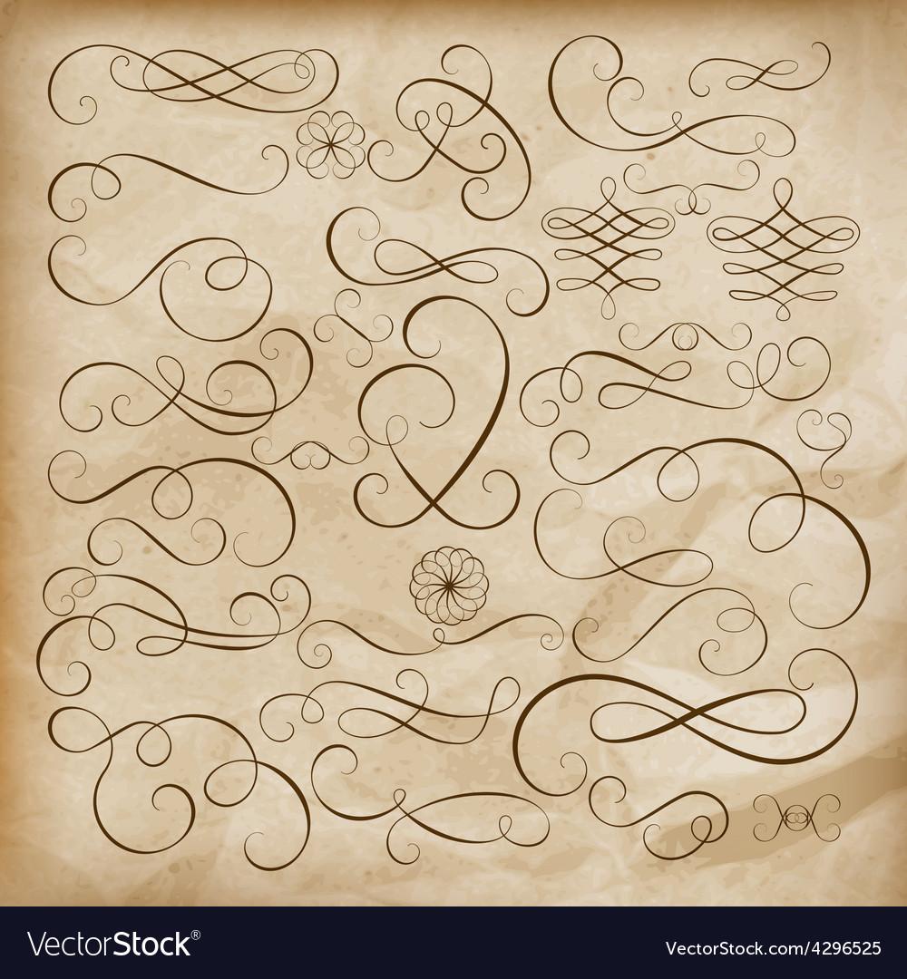 Calligraphic design elements set eps 10 vector | Price: 1 Credit (USD $1)