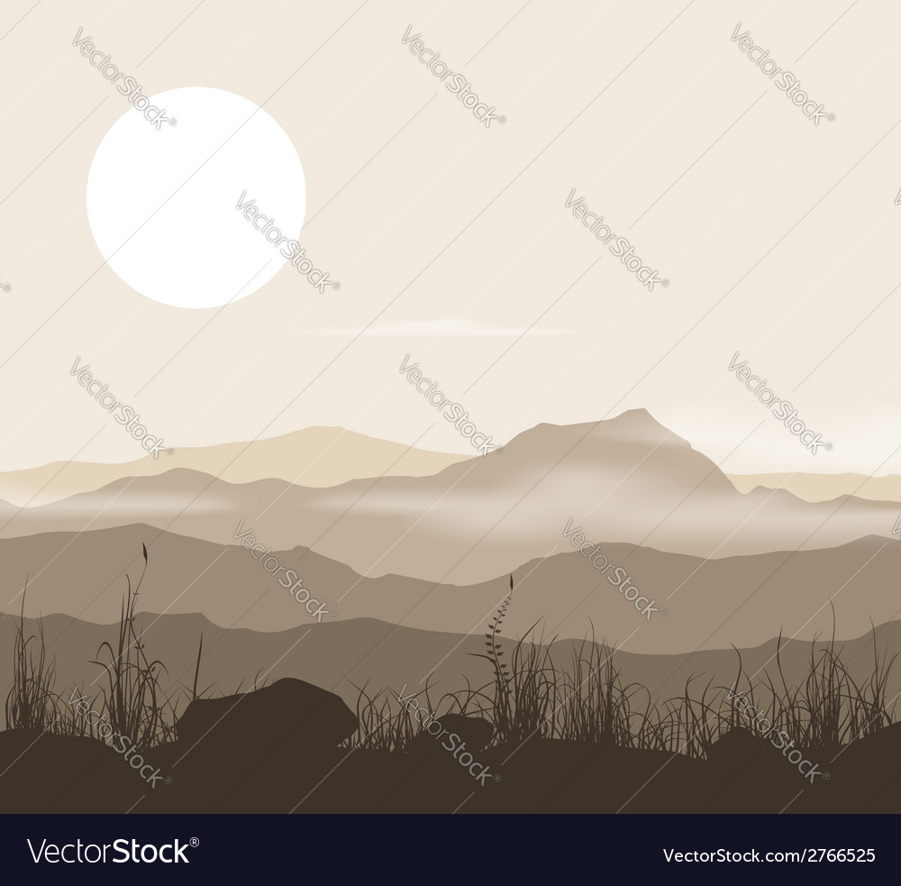 Landscape with grass and mountains over sunset vector | Price: 1 Credit (USD $1)