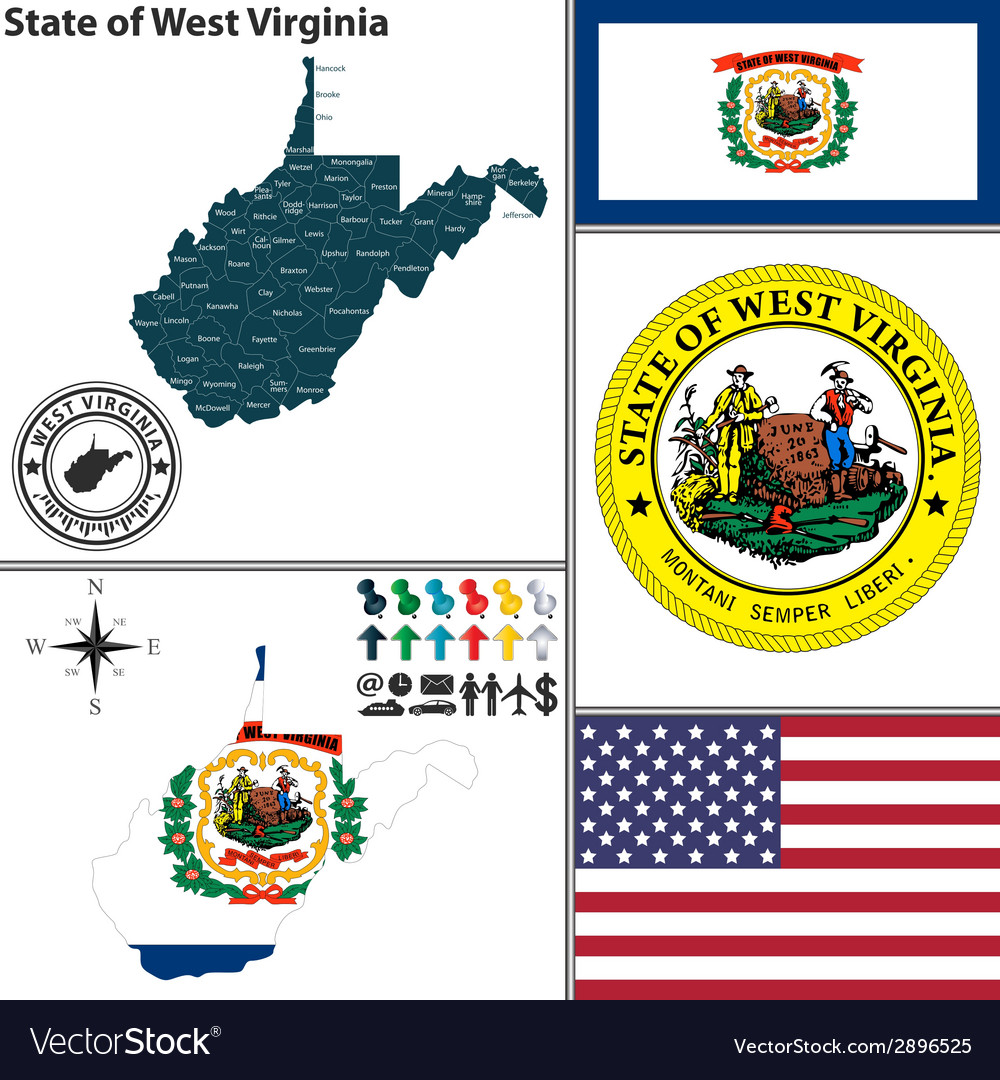Map of west virginia with seal vector | Price: 1 Credit (USD $1)