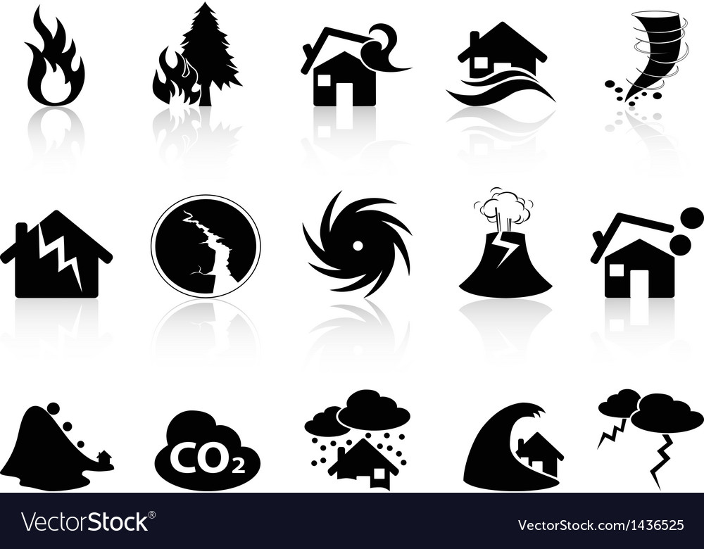 Natural disaster icons set vector | Price: 1 Credit (USD $1)