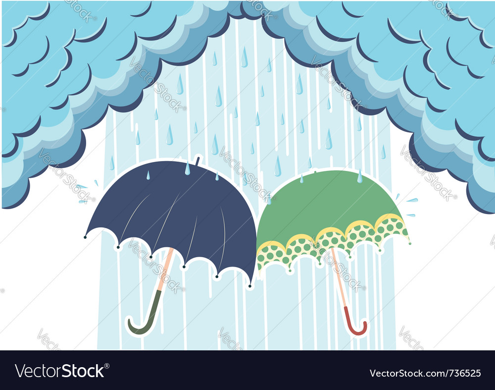 Of raining clouds and two umbrellas vector | Price: 1 Credit (USD $1)