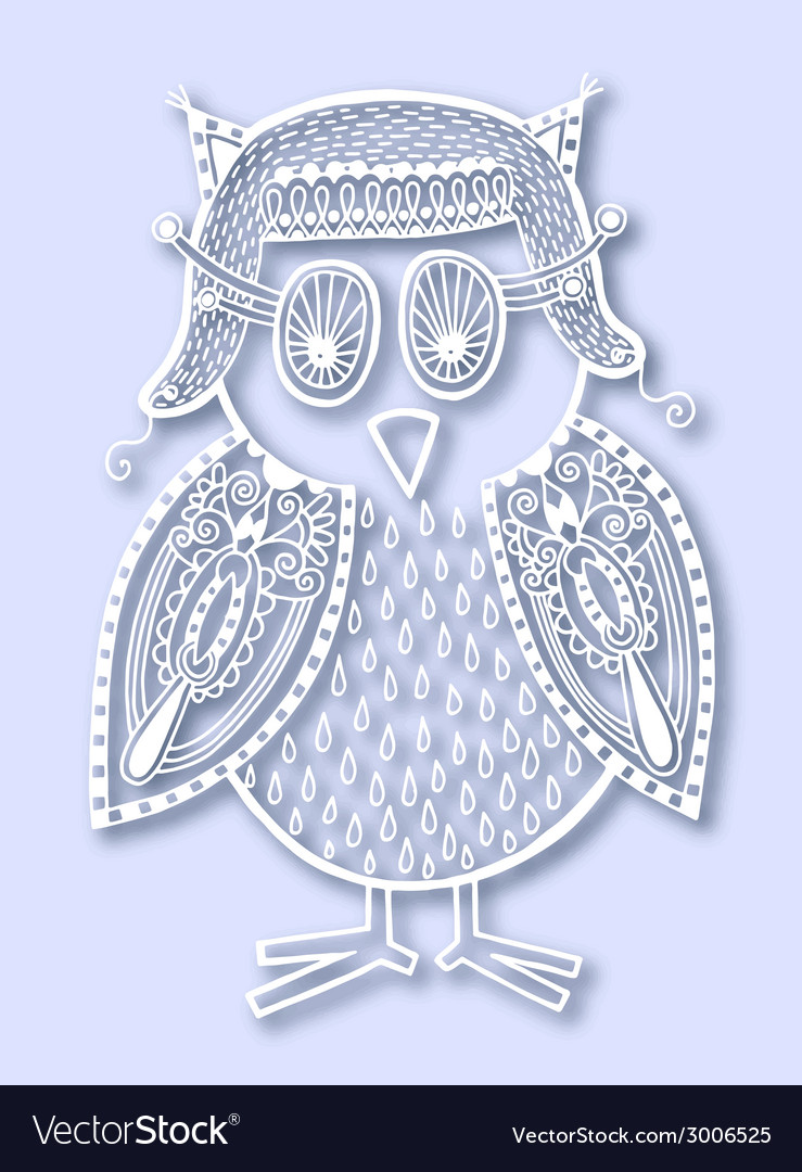 Paper cute of doodle owl vector | Price: 1 Credit (USD $1)