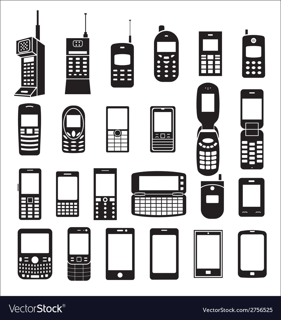 Set of mobile phone icons vector | Price: 1 Credit (USD $1)