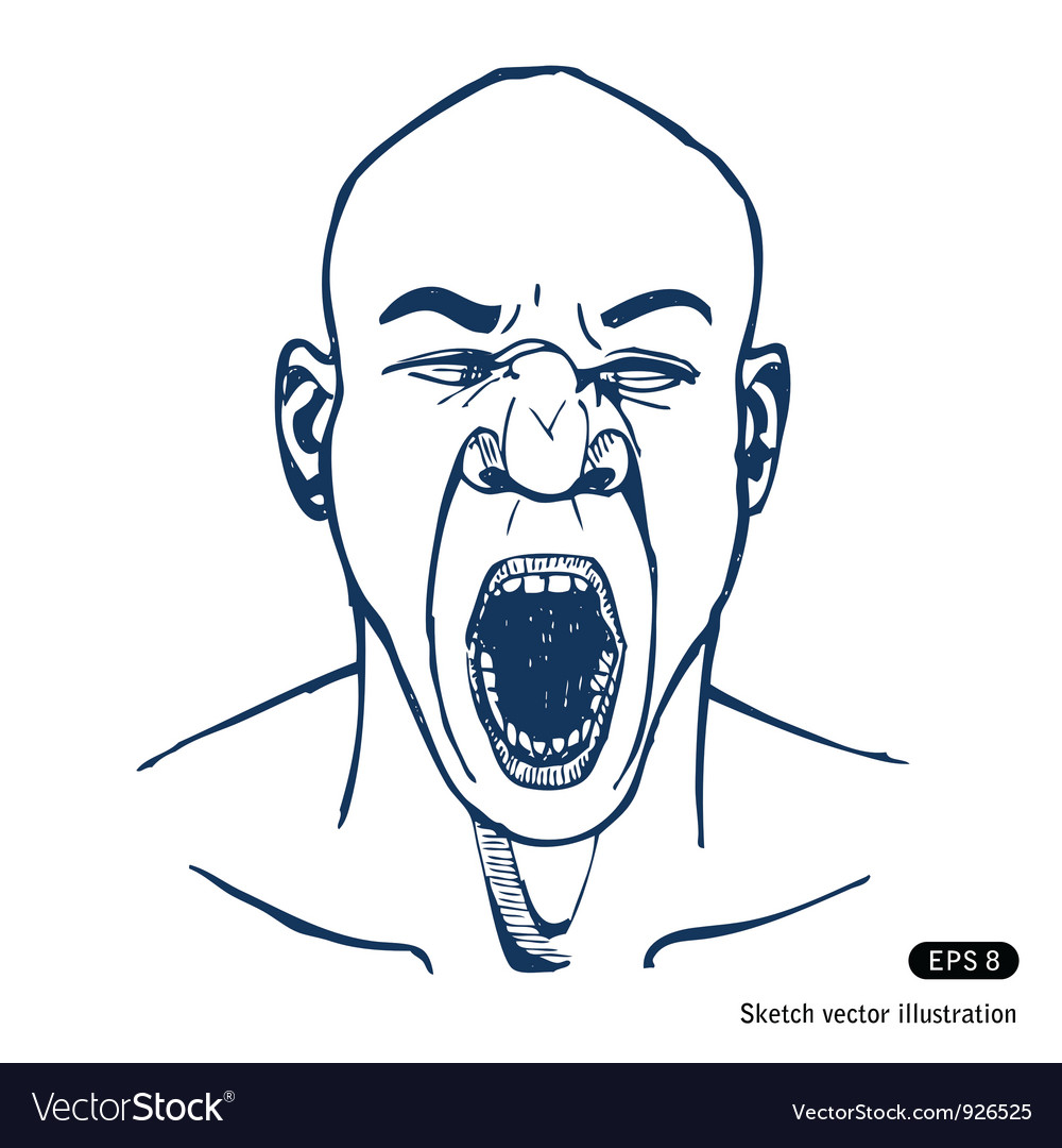 Shouting or yawning man opened mouth vector | Price: 1 Credit (USD $1)