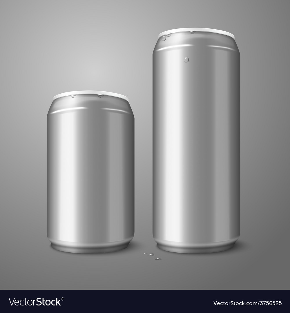 Two blank aluminium beer cans isolated on gray vector | Price: 1 Credit (USD $1)