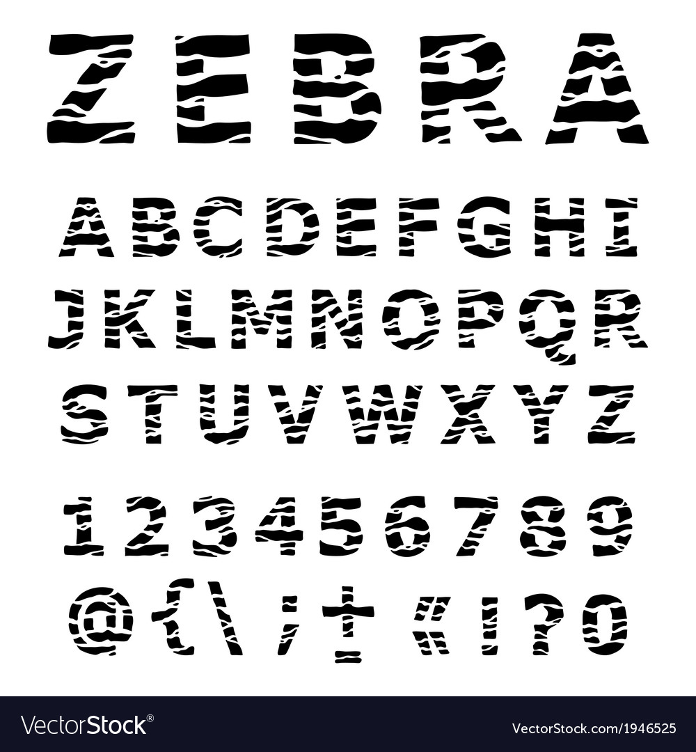Zebra alphabet vector | Price: 1 Credit (USD $1)