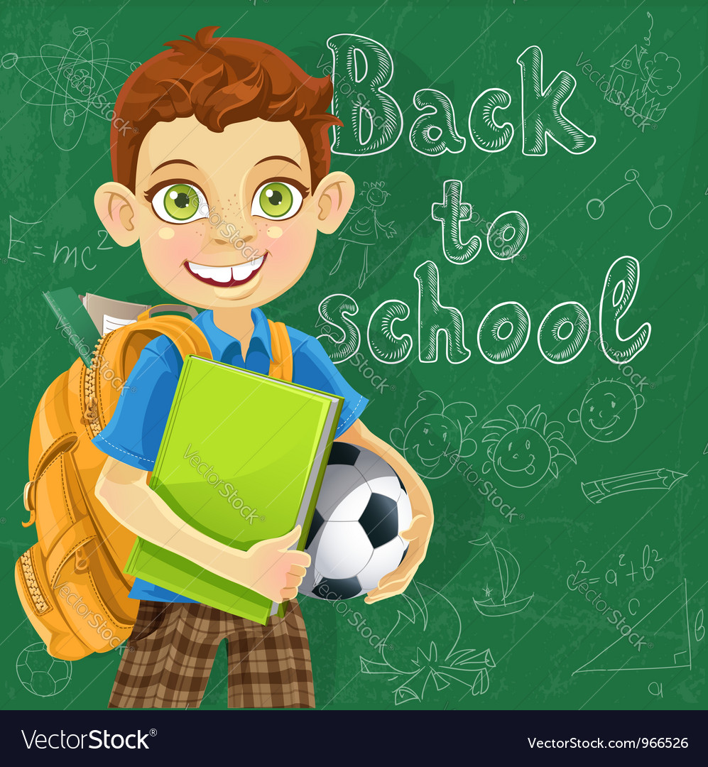 Banner back to school a boy with a backpack vector | Price: 5 Credit (USD $5)