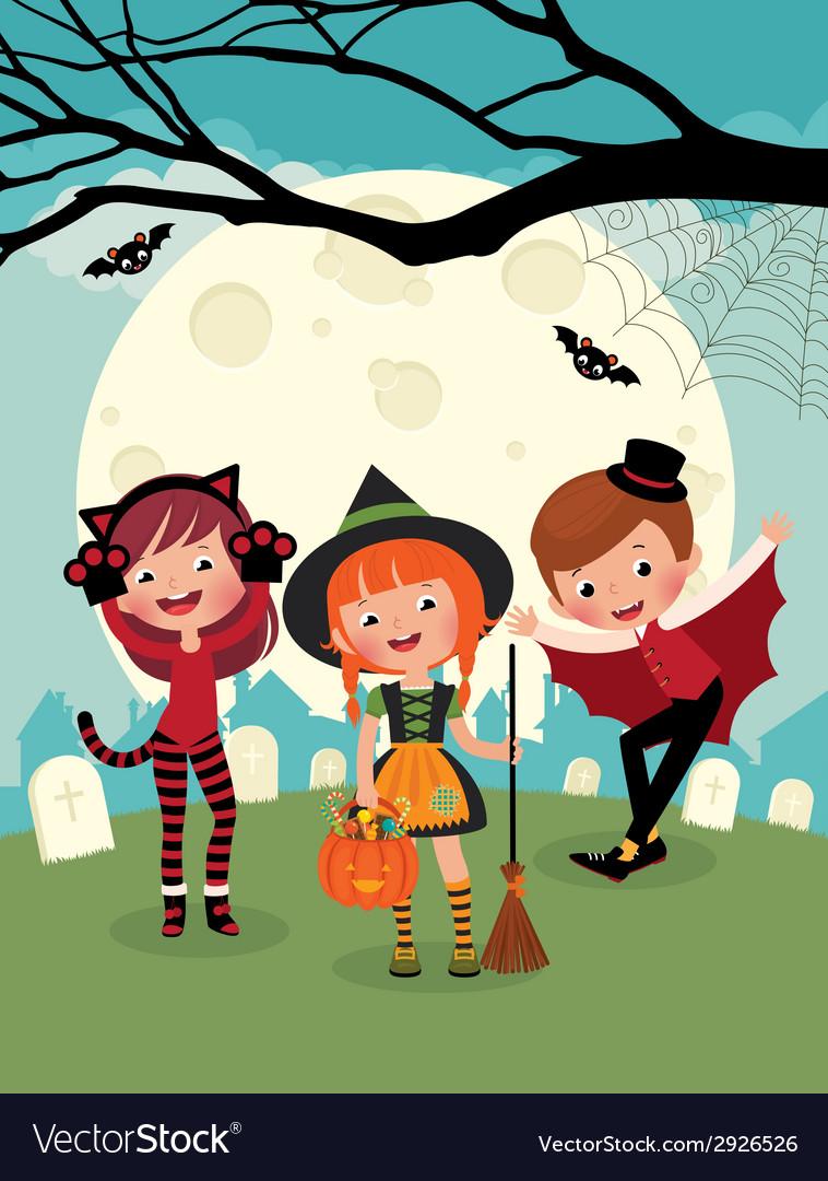 Children on halloween party vector   Price: 1 Credit (USD $1)
