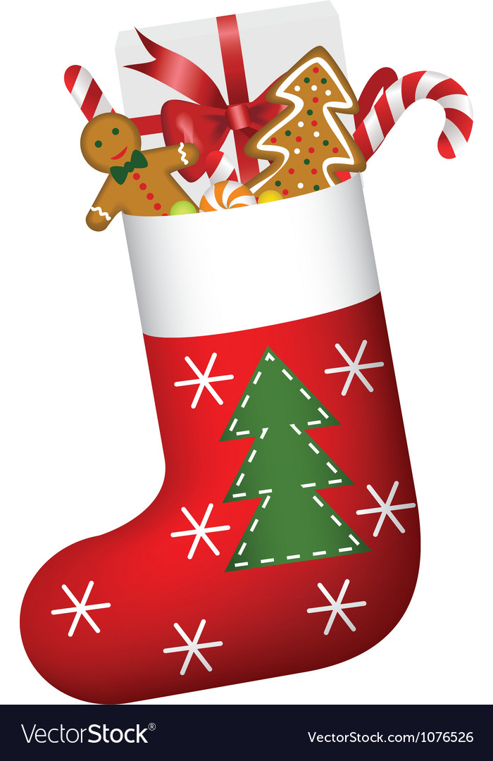 Christmas sock full of gifts vector | Price: 1 Credit (USD $1)