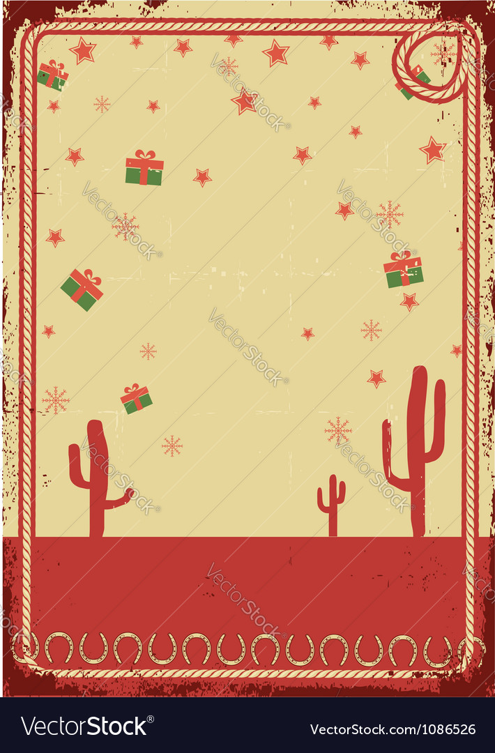 Cowboy christmas card with rope frame for text on vector | Price: 1 Credit (USD $1)
