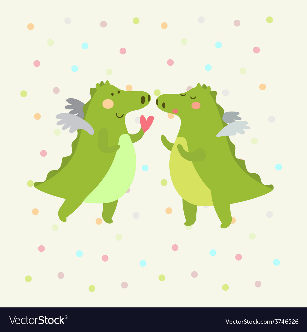 Festive card with romantic dinosaur couple vector | Price: 1 Credit (USD $1)