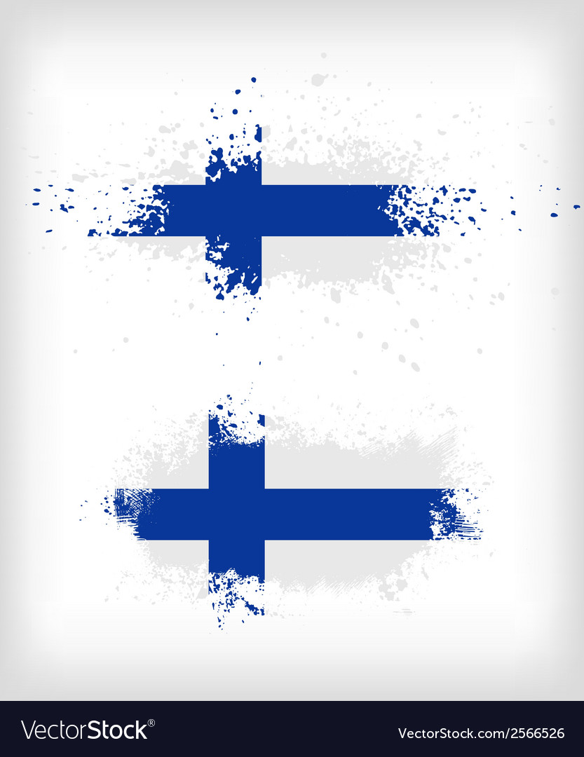 Grunge finnish ink splattered flag vector | Price: 1 Credit (USD $1)