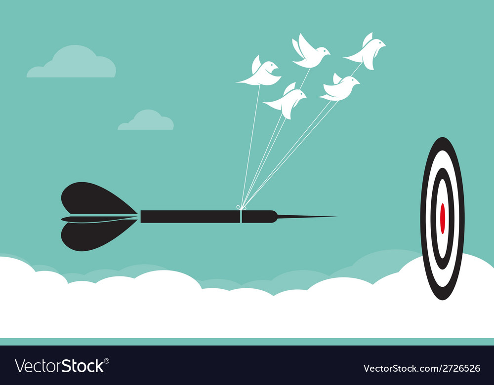Image of birds with darts target aim in the sky vector | Price: 1 Credit (USD $1)