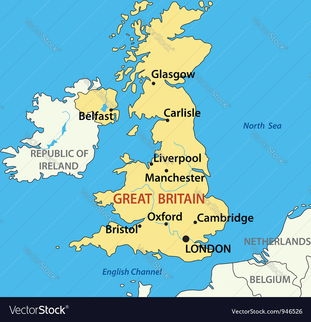 Map of the united kingdom of great britain vector | Price: 1 Credit (USD $1)