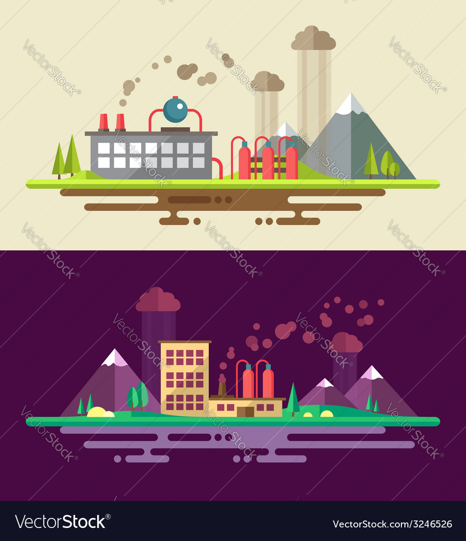 Modern flat design ecological conceptual landscape vector | Price: 1 Credit (USD $1)