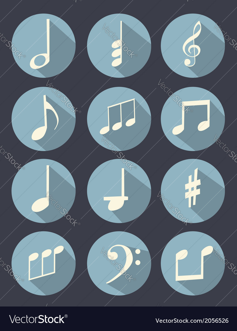 Music note flat design vector | Price: 1 Credit (USD $1)