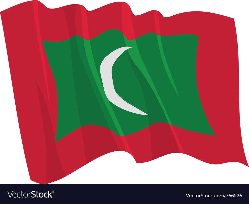 Political waving flag of maldives vector | Price: 1 Credit (USD $1)