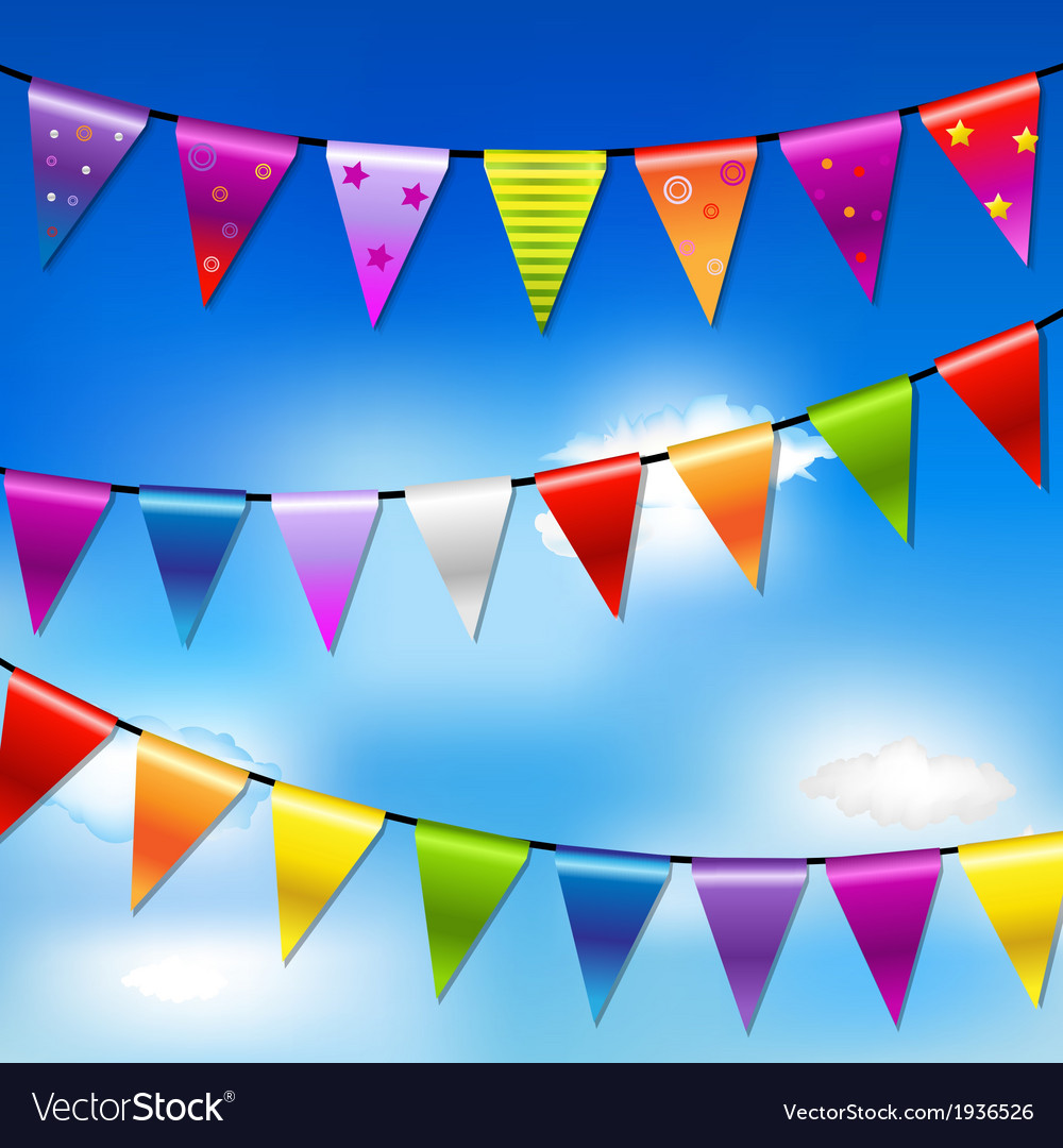 Rainbow bunting banner garland with blue sky vector | Price: 1 Credit (USD $1)