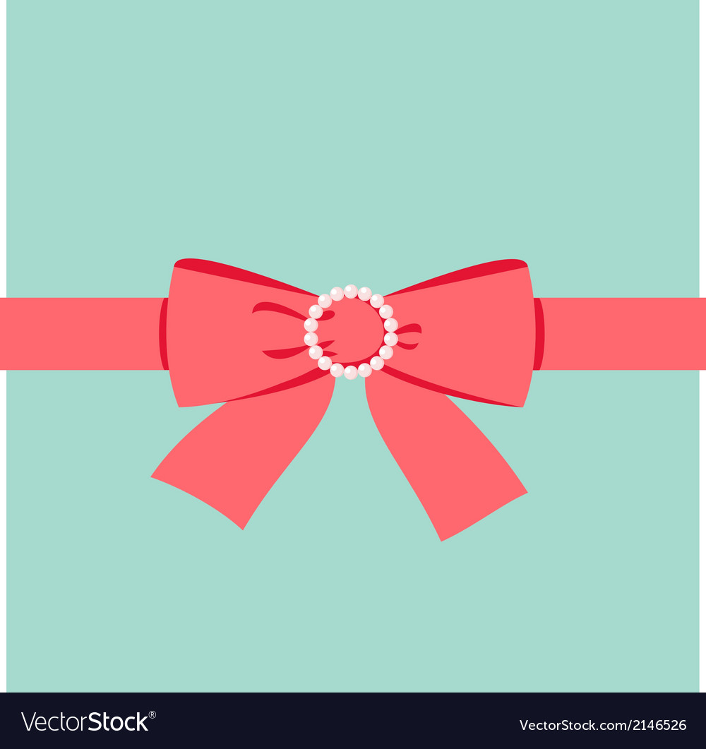 Red bow with pearl buckle vector | Price: 1 Credit (USD $1)