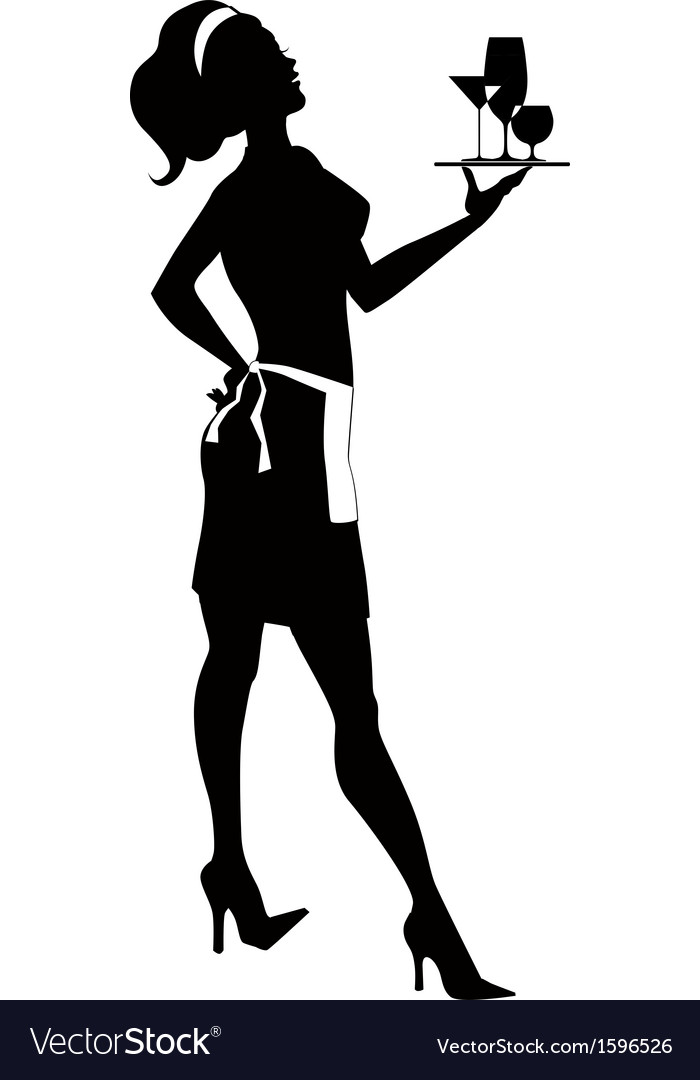 Silhouette of a cocktail waitress vector | Price: 1 Credit (USD $1)