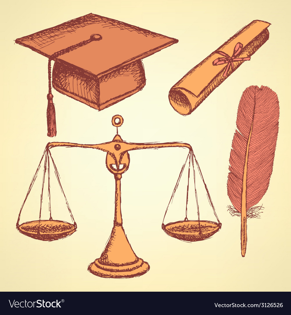 Sketch justice and education set vector | Price: 1 Credit (USD $1)