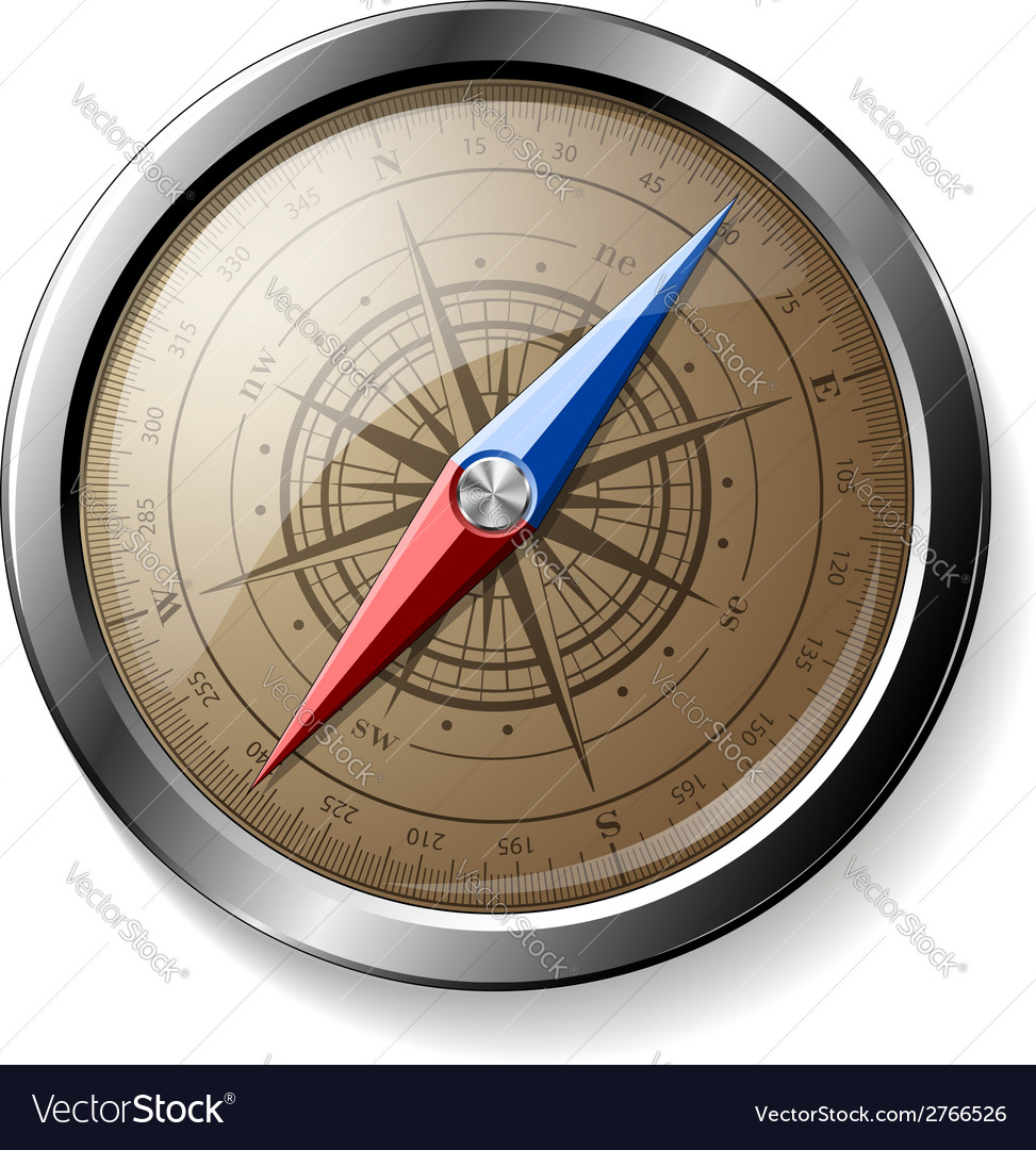 Steel detailed compass isolated on white vector | Price: 1 Credit (USD $1)