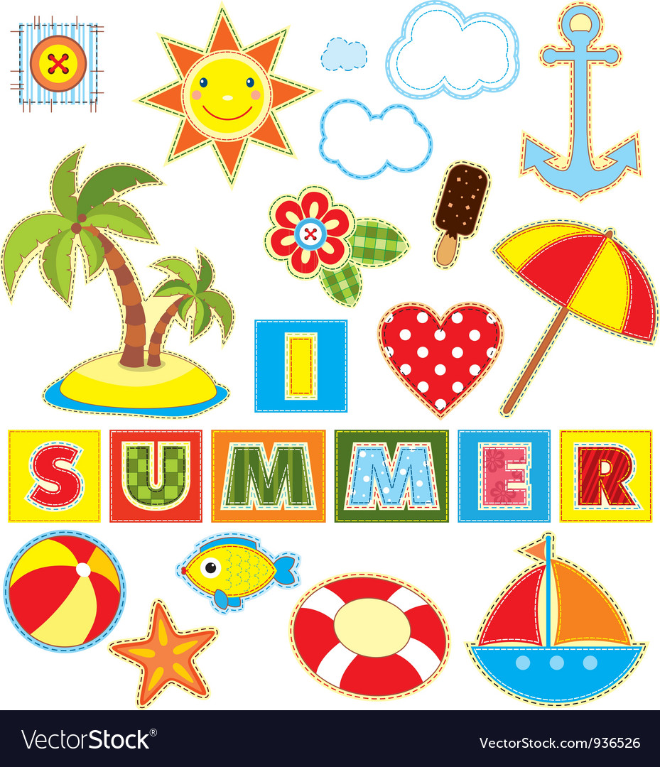 Summer set textile element vector | Price: 1 Credit (USD $1)