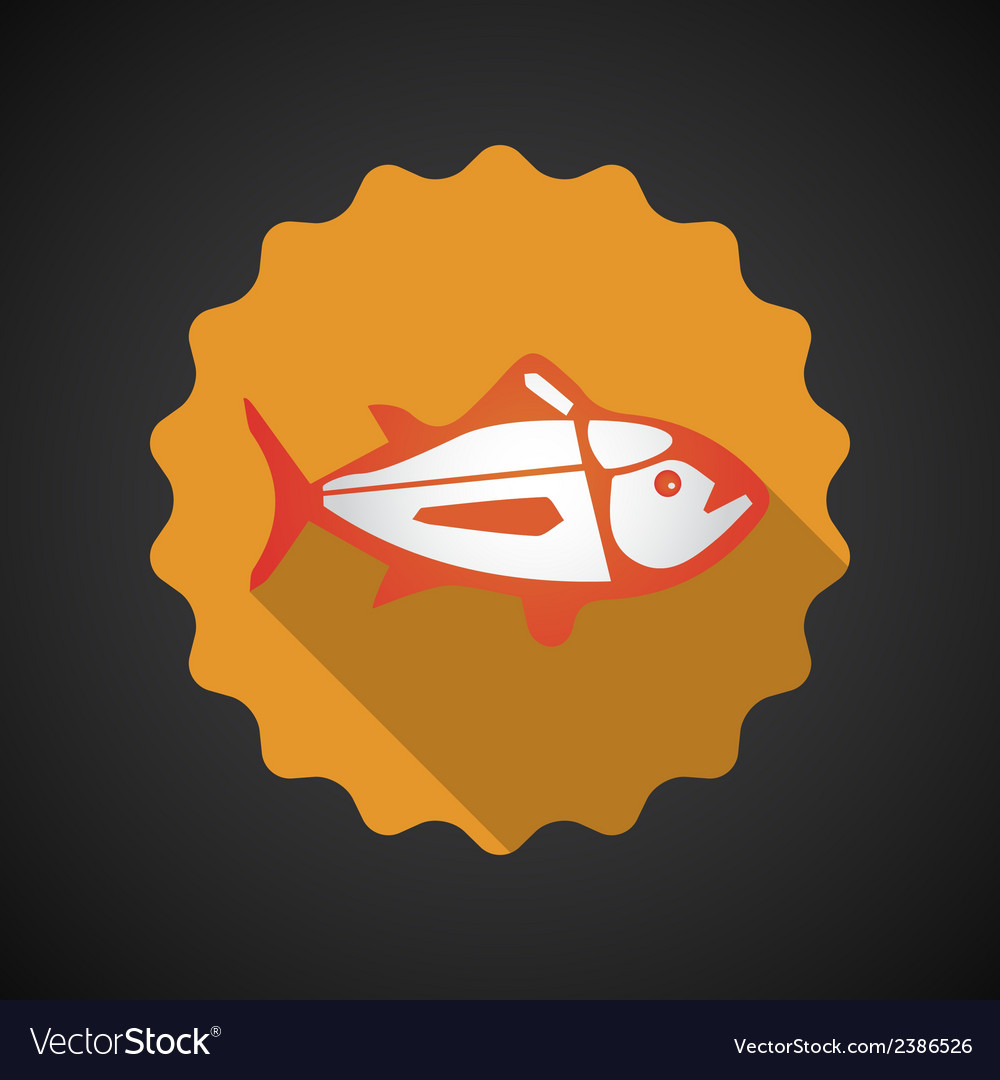 Summer travel sea fish flat icon vector | Price: 1 Credit (USD $1)