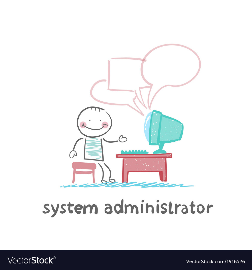 System administrator communicates with people from vector | Price: 1 Credit (USD $1)