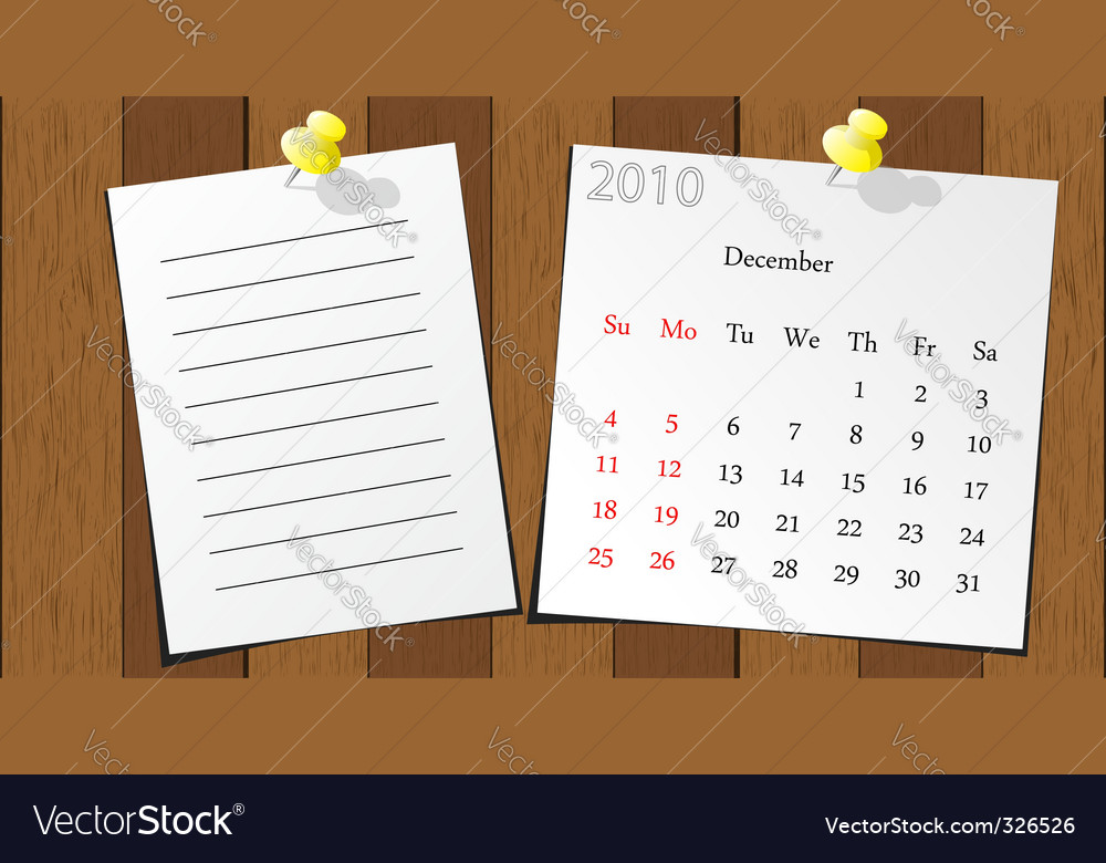 Wood sticky calendar 2010 vector | Price: 1 Credit (USD $1)