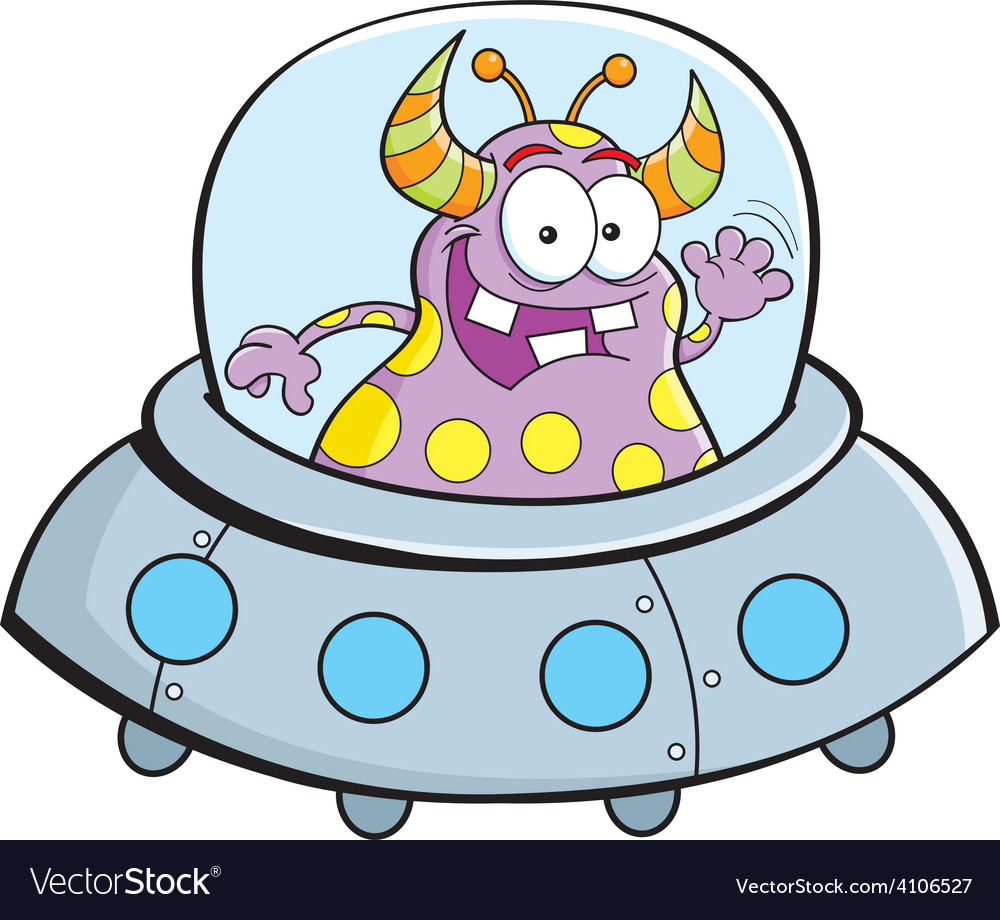Cartoon alien in a spaceship vector