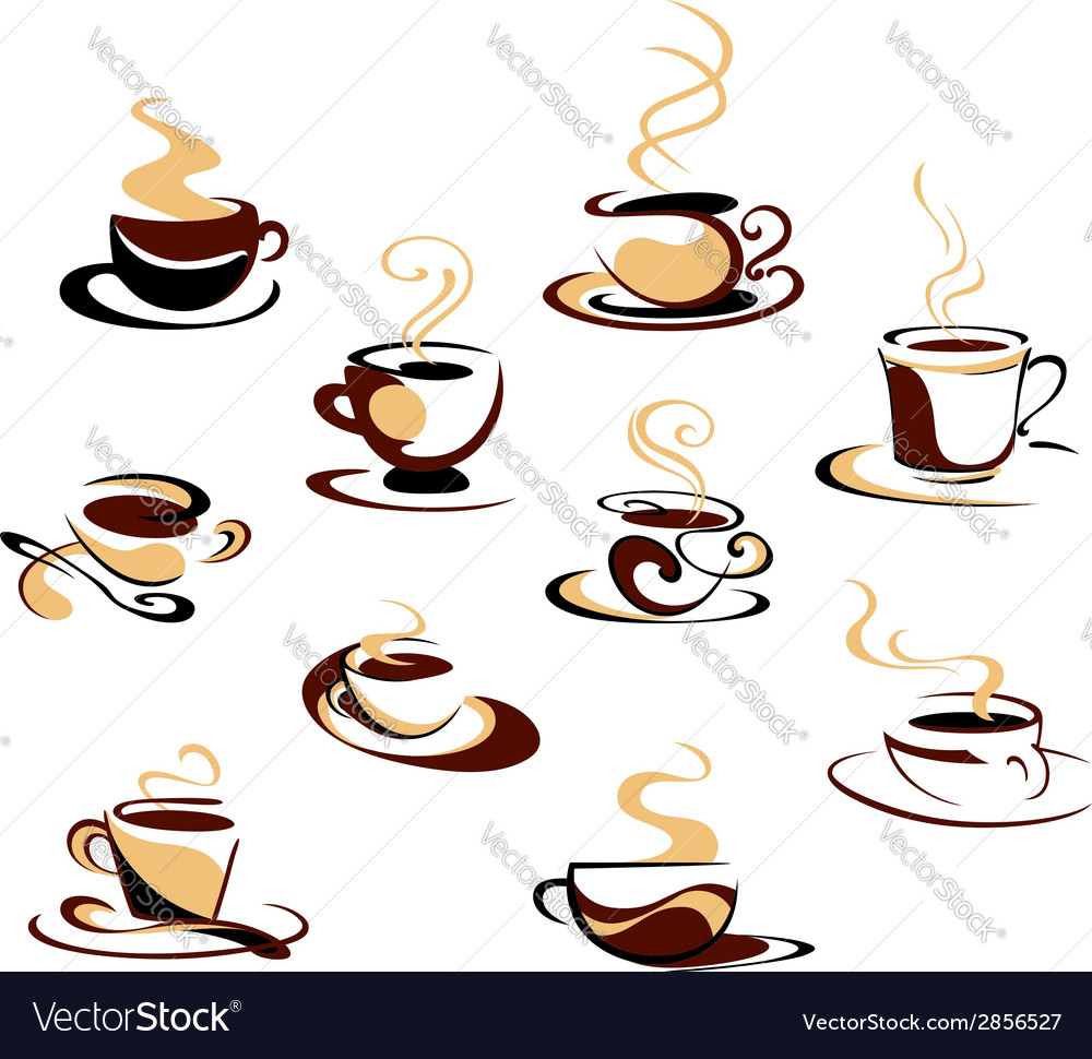 Coffee cups set vector | Price: 1 Credit (USD $1)
